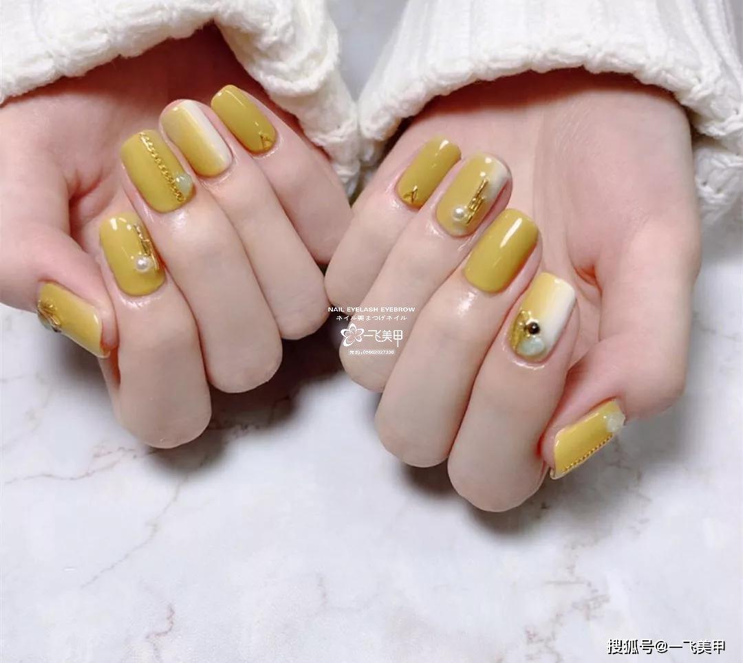 姜黄色跳色美甲,真的美炸了!
